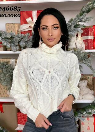 Укороченный свитер, короткий джемпер,кроп женский 2 оттенка