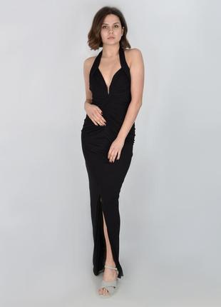 Черное платье в пол h&m