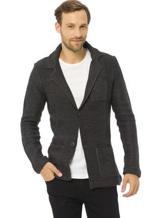 Мужской пиджак серый lc waikiki / лс вайкики с латками и карма...