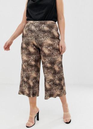 Плиссированные  кюлоты , укороченные штаны в леопардовый принт...