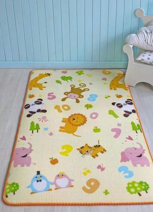 Детский игровой теплый коврик скручивающий.двухсторонний