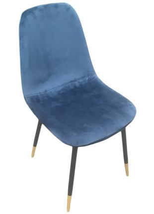 Стул мягкий Велюр, ножки металл, синий