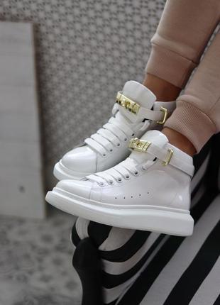 Черевики alexander mcqueen sneakers high white premium ботинки