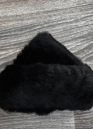 Черная меховая шапка шапочка, натуральная кожаная дубленка (ко...