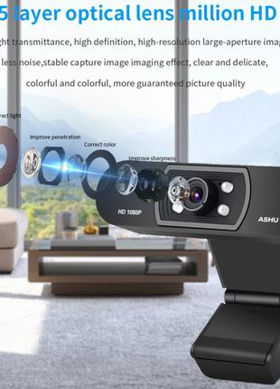 Веб камера ASHU H800 со встроенным микрофоном USB 2.0 1080P для в