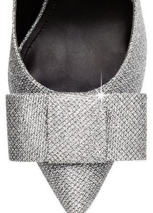 Серебряное украшение для обуви бант бантик кожаный заколка на ...