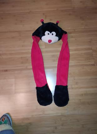 Шапка детская с шарфом. Игра, костюм карнавальный.