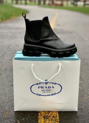 Ботинки Prada Leather Beatle Boots