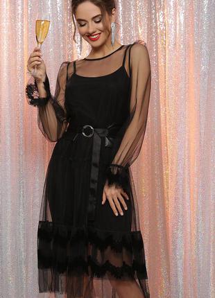 Элегантное вечерне черное платье