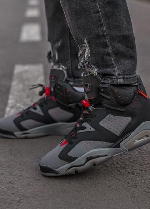 Шикарные мужские кроссовки nike air jordan retro 6 black grey