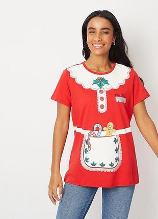 Красная футболка рождественский принт