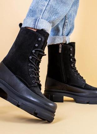 Ботинки женские замшевые зимние