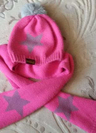 Детский набор шапка с шарфиком  milk house для девочки 3-5 лет