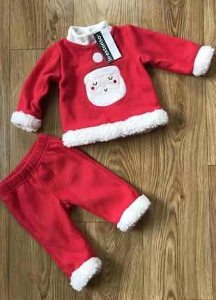 Крутой новый флисовый новогодний костюм комплект для новорожде...
