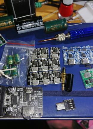 Плата для зарядки li-ion li-pol micro USB type c контроллер le...
