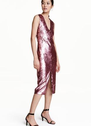 Идеальное платье в пайетки с v вырезом h&m