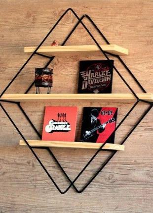Стеллаж металлический для книг, полка лофт, мебель из дерева l...