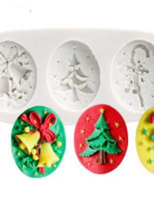 Молд новогодний из силикона - размер молда 4,5*10,5см