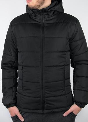 Мужская зимняя куртка с капюшоном на силиконе 220, черная и синяя