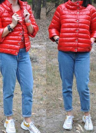 Красная лаковая куртка пуховик