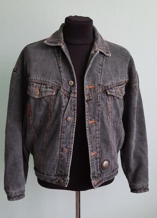 Мужская зимняя джинсовая куртка на овчине