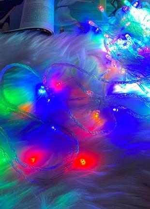 Гирлянда 200 led 18 м, провод-белый, цвет ламп-микс к. rd-7141