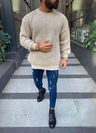 Мужской тёплый вязаный свитер