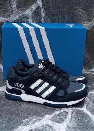 Мужские кроссовки adidas zx 750 синие,демисезонные,замшевые