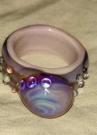 Авторское кольцо ручной работы из стекла