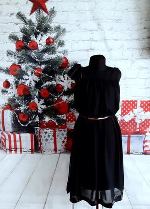 Нарядное вечернее платье чёрное миди