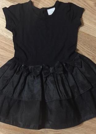 Праздничное детское платье черное с бантами