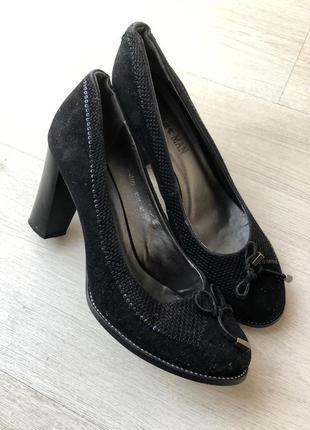 Чёрные туфли на каблуке каблук платформа блестящие стразы