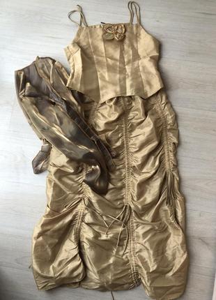 Детский выпускной костюм тройка золотистое золотое платье топ ...