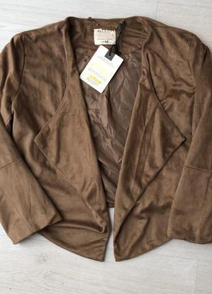 Новый замшевый пиджак накидка бежевая коричневая замш верблюжий