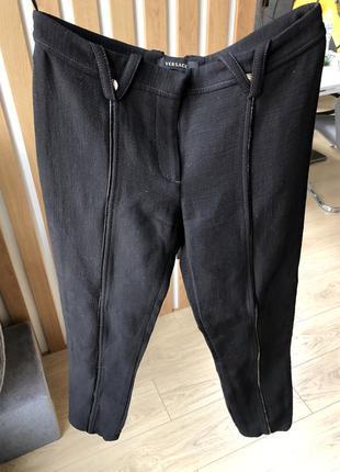 Классические чёрные шерстяные кожаные брюки штаны версаче versace