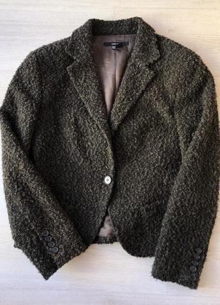 Тёплый шерстяной пиджак кардиган zara зара коричневый хаки чёрный