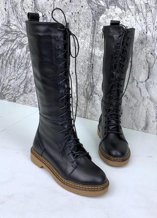 Женские зимние кожаные сапоги на шнуровке,чёрные кожаные сапог...