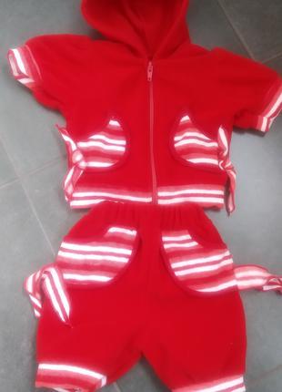 Детский костюмчик шортики и кофточка, рост 48, красный