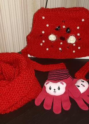 Набор шапка, снуд, рукавички