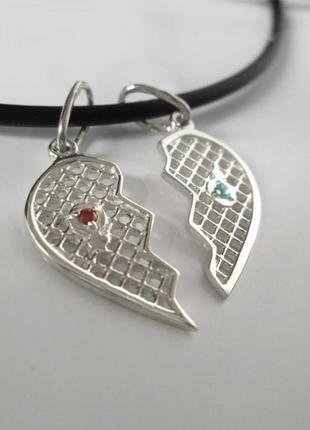 Подвес серебро 925 сердце на двоих 6104