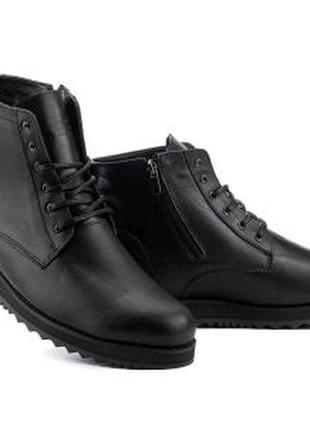 Мужские ботинки кожаные зимние черные Multi-shoes Valter Великаны