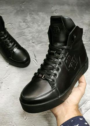 Мужские кожаные зимние ботинки Philipp Plein