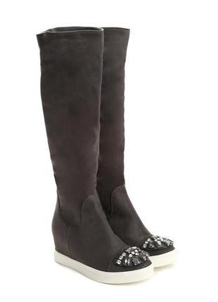 Распродажа! ботфорты🔥 трендовые сапоги/ботинки до колен с камн...