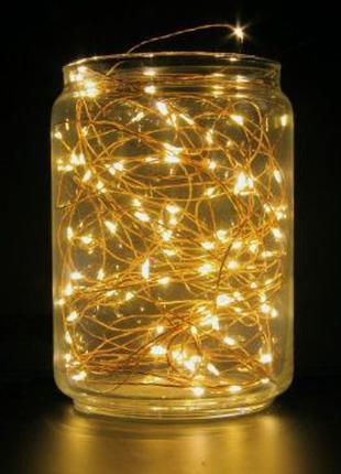 LED «Роса» Гирлянда нить светодиодная 10м USB желтая теплое св...