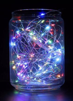 LED «Роса» Гирлянда нить светодиодная 10м USB разноцветная мигает