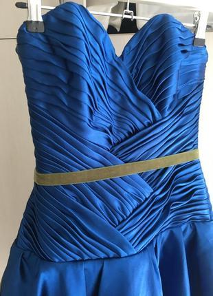 Платье корсетное, атласного синего цвета