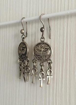Серьги египет серебро