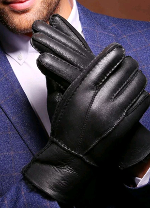 Перчатки мужские кожаные с овечьим мехом.