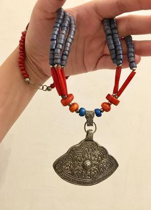 Ожерелье индия метал и дерево
