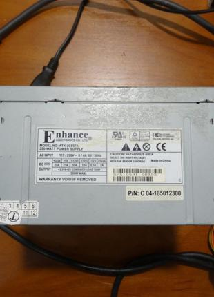 Рабочий бп Enhance ATX-2035FA 350w P4, 20pin+4pin, w/Sata, atx